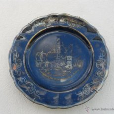 Antiques - plato de porcelana pintado en plata - 42671979