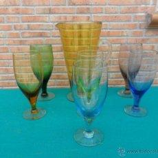 Antigüedades: JARRA Y COPAS DE CRISTAL DE COLORES. Lote 42683042
