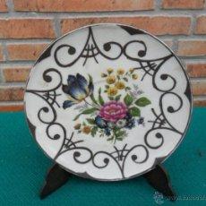 Antiques - plato pequeño pintado en plata - 42685741