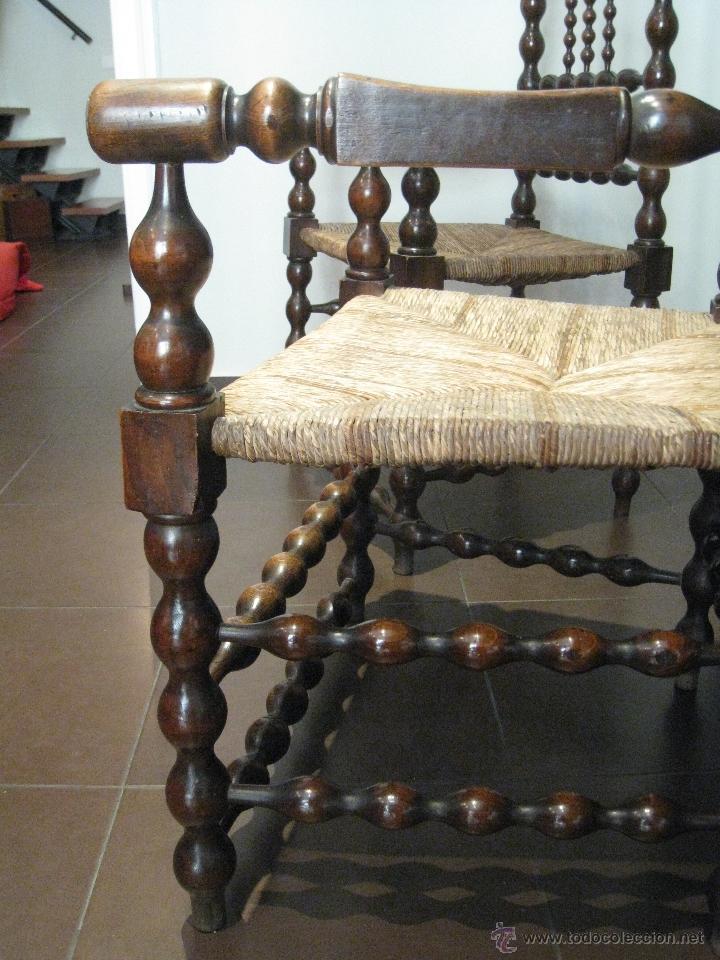 Antigüedades: PAREJA DE SILLONES TORNEADOS DE NOGAL, S.XVIII - Foto 9 - 42702519