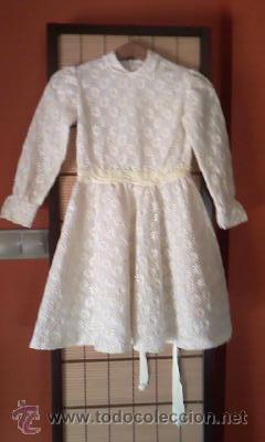 Antigüedades: Antiguo vestido con estampado de flores blanco y amarillo.Años 50/60 - Foto 2 - 42717437