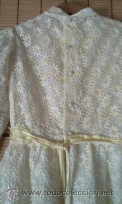 Antigüedades: Antiguo vestido con estampado de flores blanco y amarillo.Años 50/60 - Foto 8 - 42717437