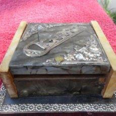 Antigüedades - gaja cigarrera en madera y plata - 42724232