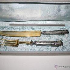 Antigüedades: SET DE SERVIR EN PLATA DE LEY Y METAL CHAPADO EN ORO, DE FINALES DEL S. XIX, CON ESTUCHE ORIGINAL. Lote 42758210