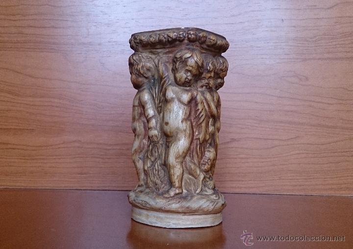 Antigüedades: Antiguo jarrón Francés con Putty en relieve de terracota ( siglo XIX ), G.BATIGNANI ( SIGNA ). - Foto 3 - 42763527