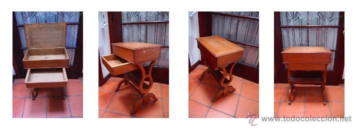 Antiguo mueble costurero ingl s de madera de ro comprar for Mueble costurero