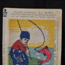 Antigüedades: ANTIGUO CROMO BORDADO.1928. PROPAGANDA LECHE EL NIÑO. Lote 42776832