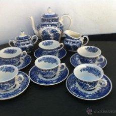 Antigüedades: JUEGO ANTIGUO DE CAFE EN SEMIPORCELANA MANUFACTURA ROYAL SPHINX CCA 1900. Lote 42782766