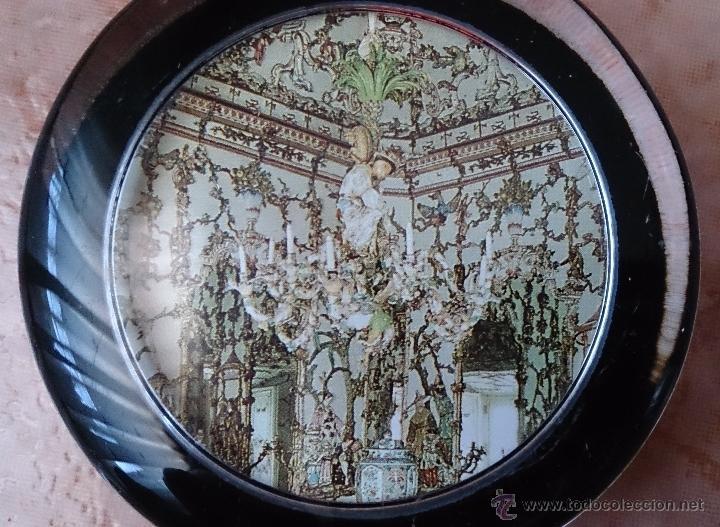 Antigüedades: Elegante pisapapeles ( REALES SITIOS DE ESPAÑA ), en cristal con base terciopelo negro . - Foto 2 - 42792198