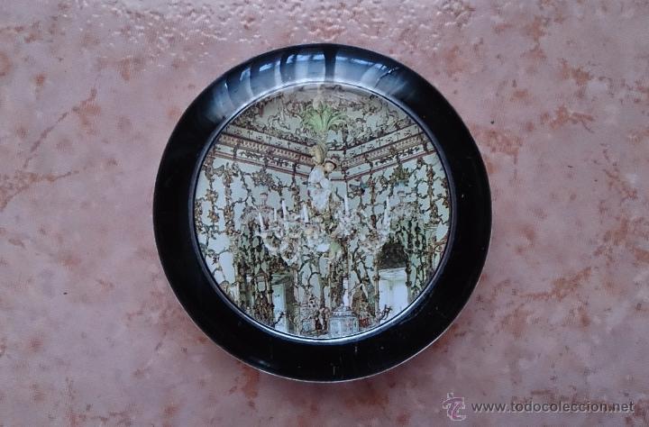 Antigüedades: Elegante pisapapeles ( REALES SITIOS DE ESPAÑA ), en cristal con base terciopelo negro . - Foto 3 - 42792198