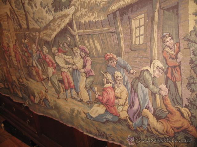 Antigüedades: Antiguo tapiz grande altura 118 cm. ancho 190 cm. buen estado de conservación. - Foto 2 - 42792202