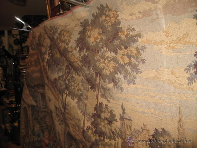 Antigüedades: Antiguo tapiz grande altura 118 cm. ancho 190 cm. buen estado de conservación. - Foto 4 - 42792202
