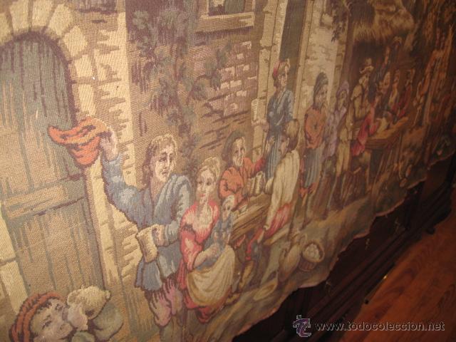 Antigüedades: Antiguo tapiz grande altura 118 cm. ancho 190 cm. buen estado de conservación. - Foto 5 - 42792202