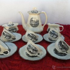 Antigüedades: JUEGO ANTIGUO DE CAFE EN SEMIPORCELANA MANUFACTURA ROYAL SPHINX CCA 1900. Lote 42794253
