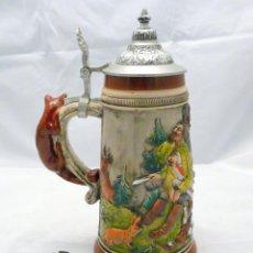 Antigüedades: ANTIGUA JARRA ALEMANA DE CERVEZA CON TAPA DE ESTANO - SELLO EN LA BASE. Lote 42818757