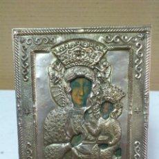 Antigüedades: VIEJO ICONO RELIGIOSO EN METAL BAÑO DE PLATA DE 1,5 X 10 X 12 CM.. Lote 42822425