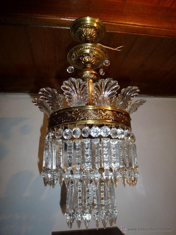 LÁMPARA CRISTAL DE ROCA (Antigüedades - Iluminación - Lámparas Antiguas)