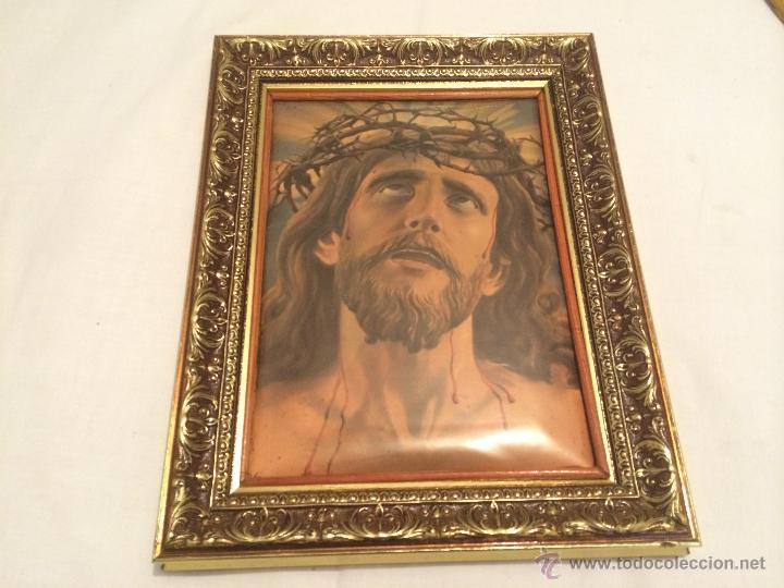 ANTIGUO CUADRO CON LA IMAGEN DE JESUCRISTO (Antigüedades - Religiosas - Ornamentos Antiguos)