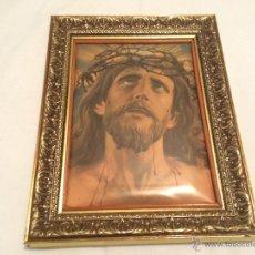 Antigüedades: ANTIGUO CUADRO CON LA IMAGEN DE JESUCRISTO. Lote 42837077