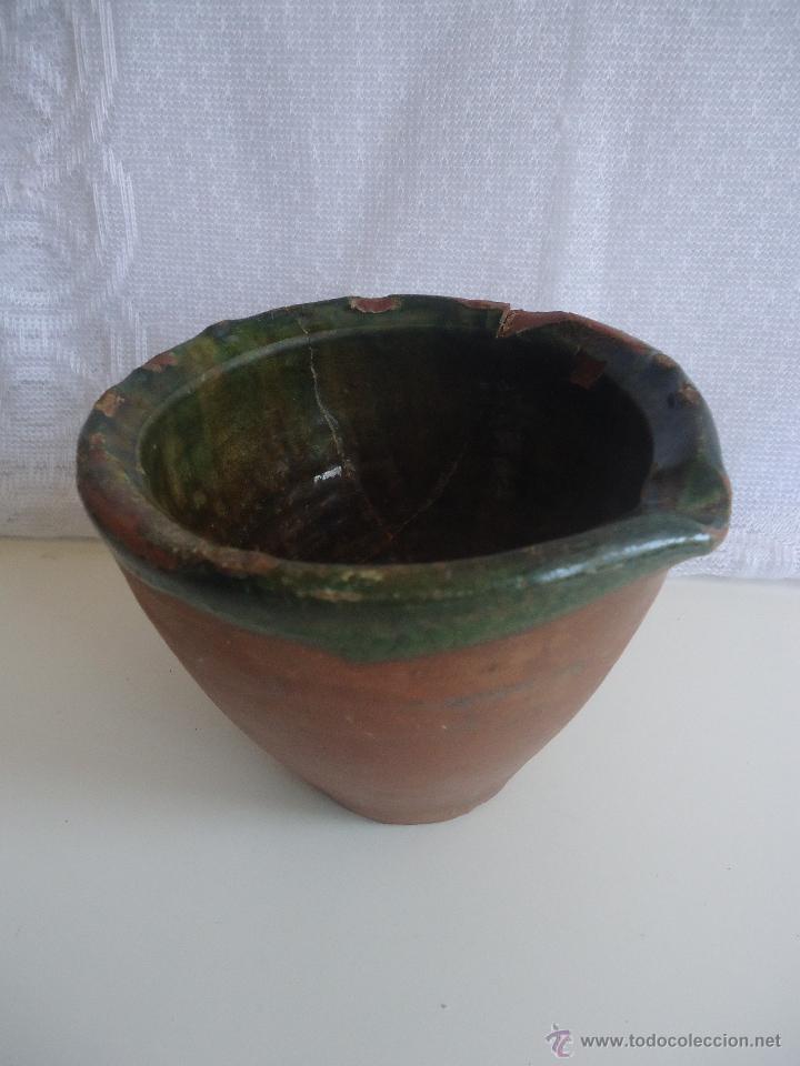 ANTIGUO ALMIREZ , MORTERO DE BARRO MURCIANO, DECORACIÓN CERAMICA ANTIGUA ESPAÑOLA (Antigüedades - Porcelanas y Cerámicas - Otras)