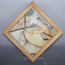 Antigüedades: AZULEJO CERÁMICO MANISES, DECORADO CON CAZADOR. S XVIII. Lote 42867373