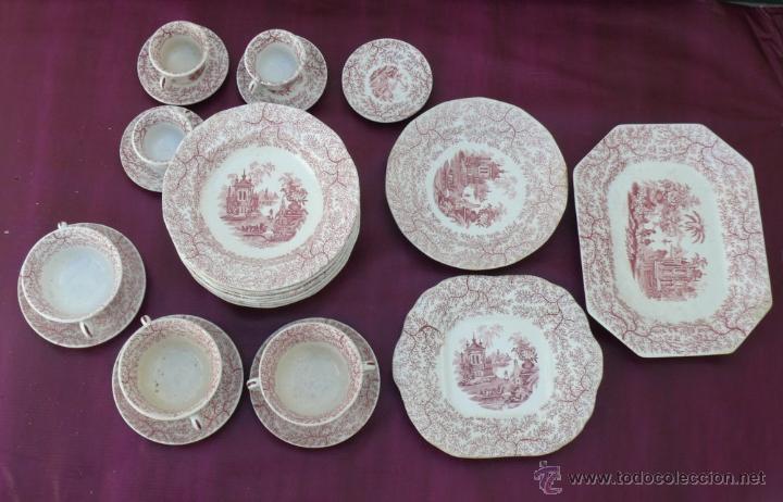 Lote bandejas platos y tazas antiguas de vajill comprar for Modelos de vajillas