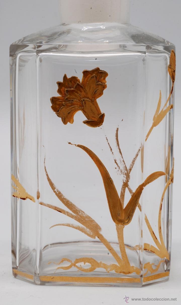 Antigüedades: Juego tocador frascos cristal Bohemia con decoraciones flores doradas al fuego Art Nouveau - Foto 3 - 42936583