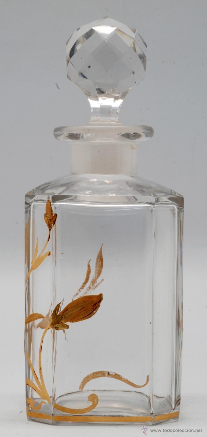 Antigüedades: Juego tocador frascos cristal Bohemia con decoraciones flores doradas al fuego Art Nouveau - Foto 6 - 42936583