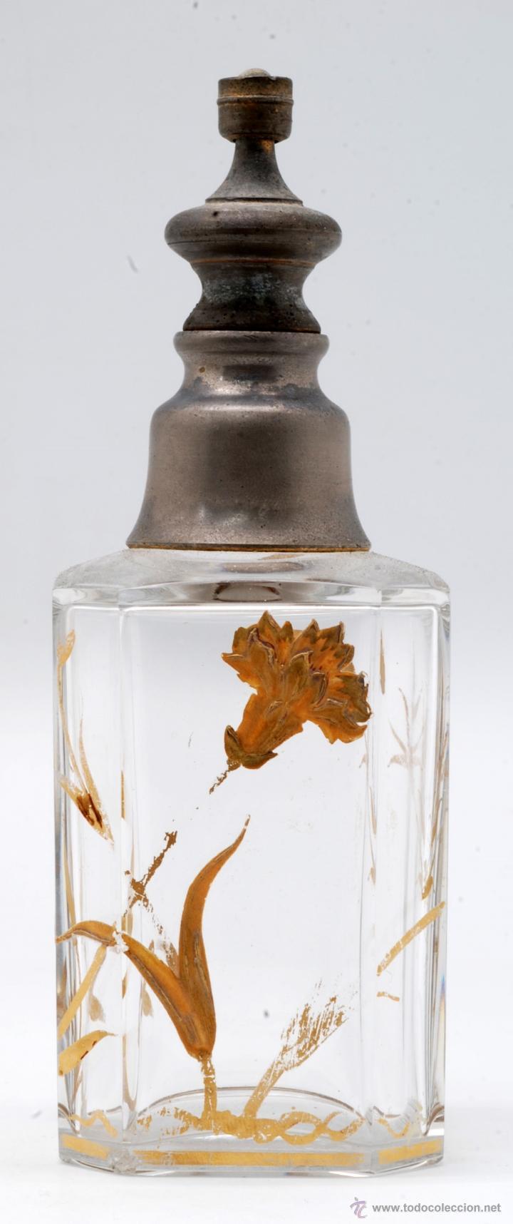 Antigüedades: Juego tocador frascos cristal Bohemia con decoraciones flores doradas al fuego Art Nouveau - Foto 16 - 42936583