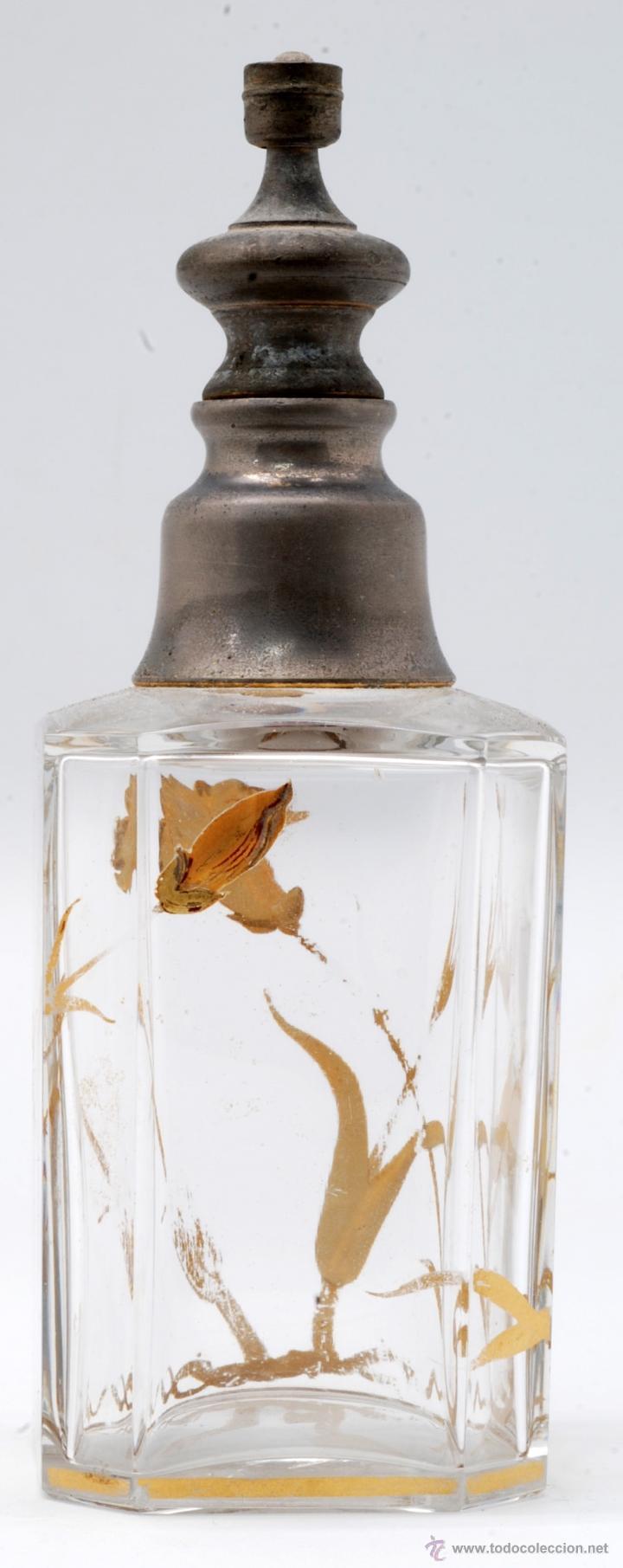 Antigüedades: Juego tocador frascos cristal Bohemia con decoraciones flores doradas al fuego Art Nouveau - Foto 18 - 42936583