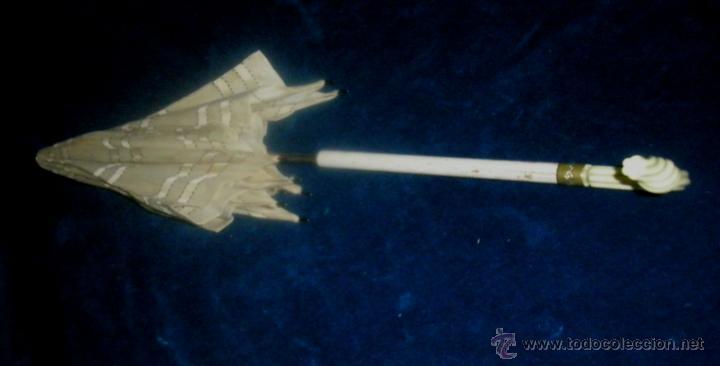 Antigüedades: Antigua sombrilla infantil, mango de pasta, deteriorada, Primer tercio XX, largo 62 cm. varillas 30 - Foto 4 - 76034211