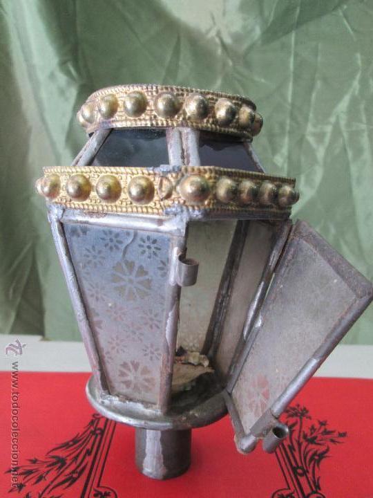 Antigüedades: ANTIGUO FAROLILLO PROCESIONAL EN LATÓN ESTAÑADO Y CRISTAL - ORIGINAL AÑOS 40 Ó 50 - Foto 11 - 42968623
