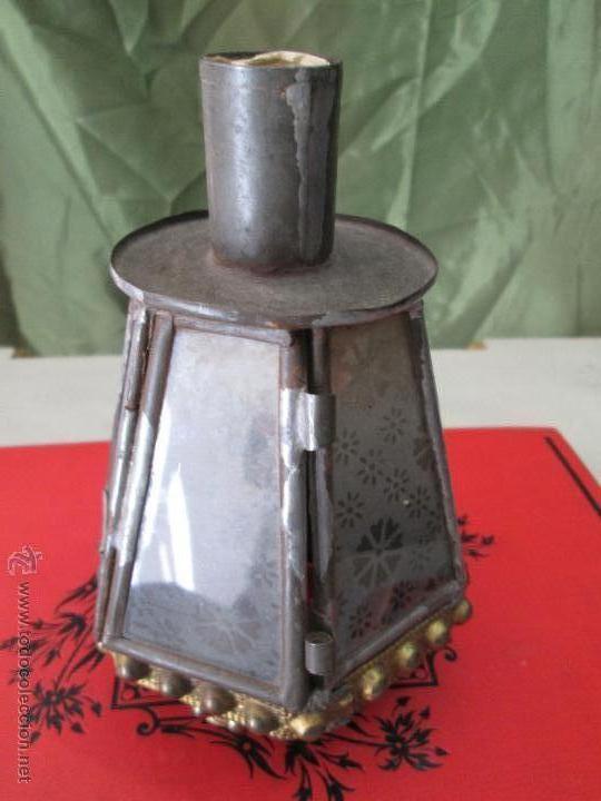 Antigüedades: ANTIGUO FAROLILLO PROCESIONAL EN LATÓN ESTAÑADO Y CRISTAL - ORIGINAL AÑOS 40 Ó 50 - Foto 12 - 42968623