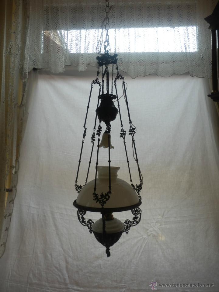 LAMPARA QUINQUE DEL SIGLO XIX (Antigüedades - Iluminación - Quinqués Antiguos)