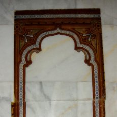 Preciosa cristalera o vidriera antigua con motivos arabescos (en 2 piezas).S.XIX. Pintada a Mano.