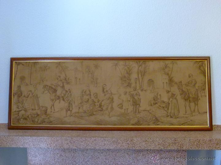 TAPIZ ANTIGUO ESCENA ÁRABES - ÁRABE - ENMARCADO (Antigüedades - Hogar y Decoración - Tapices Antiguos)