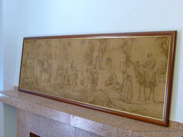Antigüedades: TAPIZ ANTIGUO ESCENA ÁRABES - ÁRABE - ENMARCADO - Foto 3 - 42973851