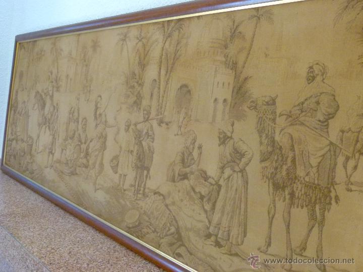 Antigüedades: TAPIZ ANTIGUO ESCENA ÁRABES - ÁRABE - ENMARCADO - Foto 4 - 42973851