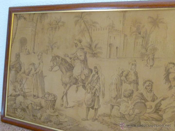 Antigüedades: TAPIZ ANTIGUO ESCENA ÁRABES - ÁRABE - ENMARCADO - Foto 6 - 42973851