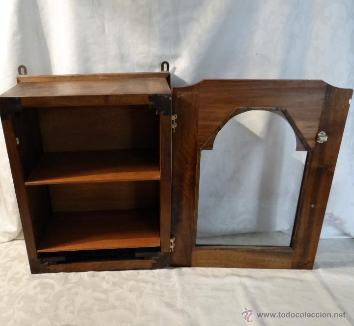 Antigüedades: vitrina, armarito, caja de reloj antigua, nogal, Preciosa. - Foto 2 - 42980985