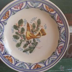 Antigüedades: VIEJO PLATO PINTADO A MANO Y FIRMADO.. Lote 42990233