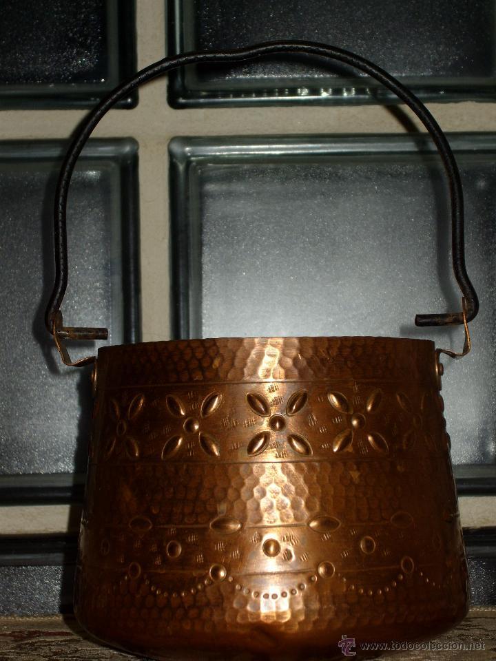 Antigüedades: OLLA CALDERO DE COBRE CON DECORACION,VINTAGE. - Foto 3 - 43008547