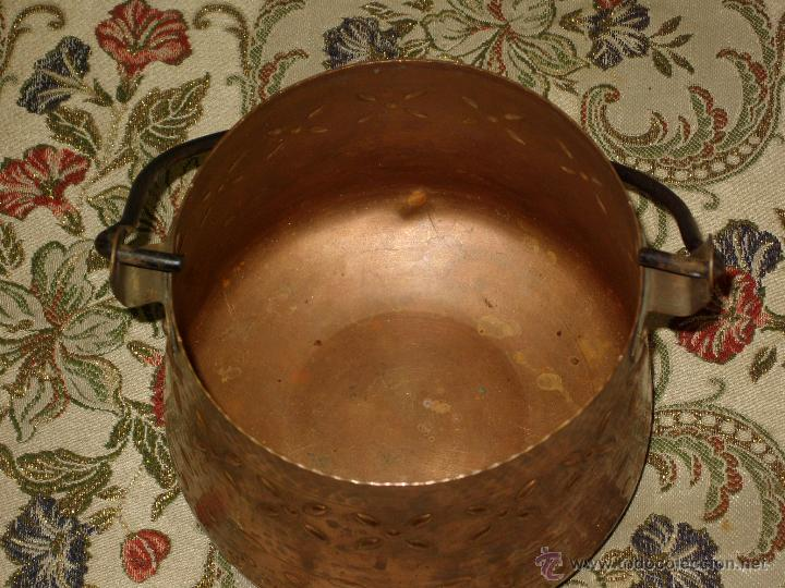Antigüedades: OLLA CALDERO DE COBRE CON DECORACION,VINTAGE. - Foto 5 - 43008547