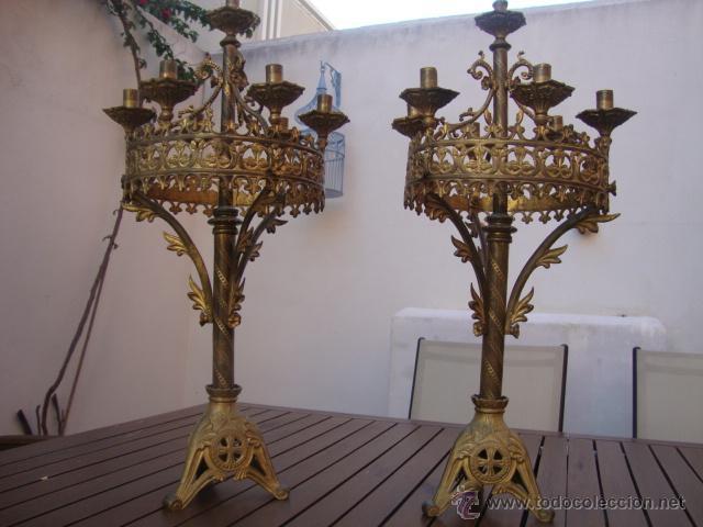 EXTRAORDINARIA PAREJA DE CANDELABROS (Antigüedades - Iluminación - Candelabros Antiguos)