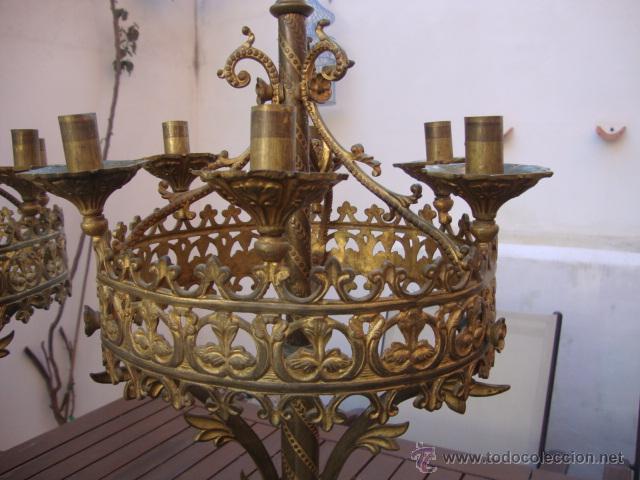 Antigüedades: extraordinaria pareja de candelabros - Foto 2 - 43016710