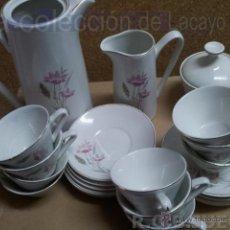 Antigüedades: JUEGO DE CAFE CON 10 SERVICIOS CAFETERA-LECHERA-AZUCARERO-PLATOS Y TAZAS SAN CLAUDIO AÑO 69. Lote 43025568