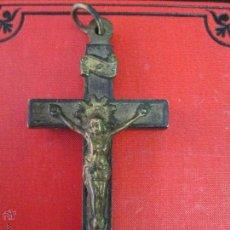 Antigüedades: ANTIGUA CRUZ PECTORAL EN MADERA Y METAL ORIGINAL DEL SIGLO XVIII. Lote 43033236