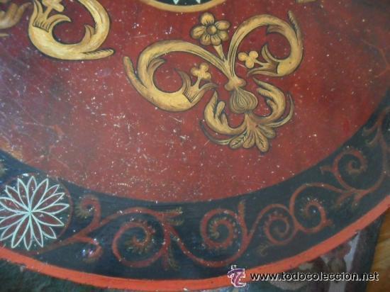 Antigüedades: MESA DE CENTRO EN MADERA POLICROMADA Y PAN DE ORO SIGLO XVIII - XIX - Foto 7 - 43041877