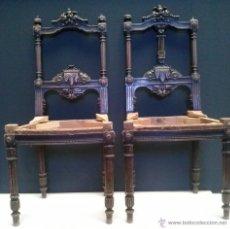 Antigüedades: PRECIOSA PAREJA DE SILLAS TALLADAS - COLOR CAOBA. Lote 43042602