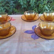 Antigüedades: ANTIGUO JUEGO DE CAFE DURALEX EN COLOR AMBAS. Lote 43042768